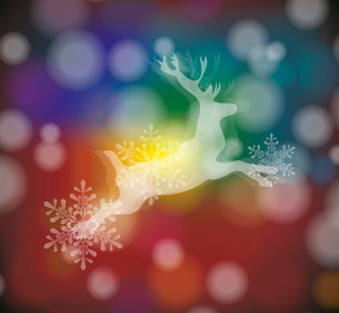 christmas card with stylized  white deer with  snowflakesのイラスト素材 [FYI03087280]
