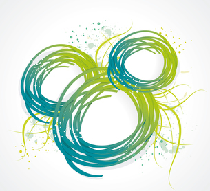 Abstract bubble from a ribbon with green grass, vector illustration.のイラスト素材 [FYI03087282]