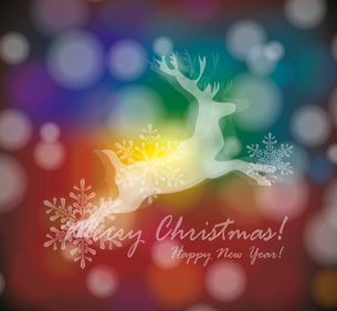 christmas card with stylized  white deer with  snowflakesのイラスト素材 [FYI03087285]