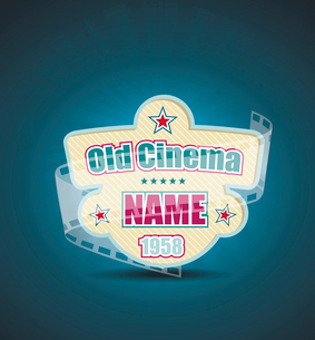 Old Cinema banner with stripe roll. Vector cinema background.のイラスト素材 [FYI03087286]