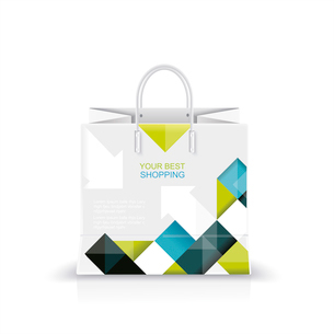 Vector illustration of white shopping paper or plastic bag with modern abstract pattern print.のイラスト素材 [FYI03087293]