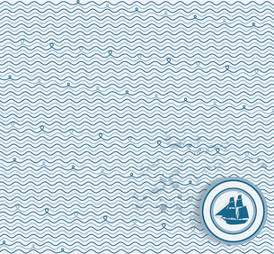 Sea wave hand-drawn pattern, waves background. Can be used for wallpaper, pattern fills, web page baのイラスト素材 [FYI03087296]