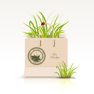 Vector illustration of  shopping paper bag with green symbol. Environmentally friendly products andのイラスト素材 [FYI03087301]