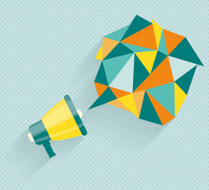 Flat vector icon of megaphone with bubble speech for social media marketing conceptのイラスト素材 [FYI03087336]