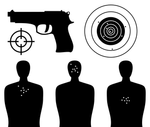 Shooting gallery. Target of a figure of the person and pistol. A vector illustrationのイラスト素材 [FYI03087339]