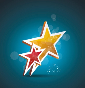 Two gold stars. 100% satisfaction guarantee. Vector cinema background.のイラスト素材 [FYI03087341]