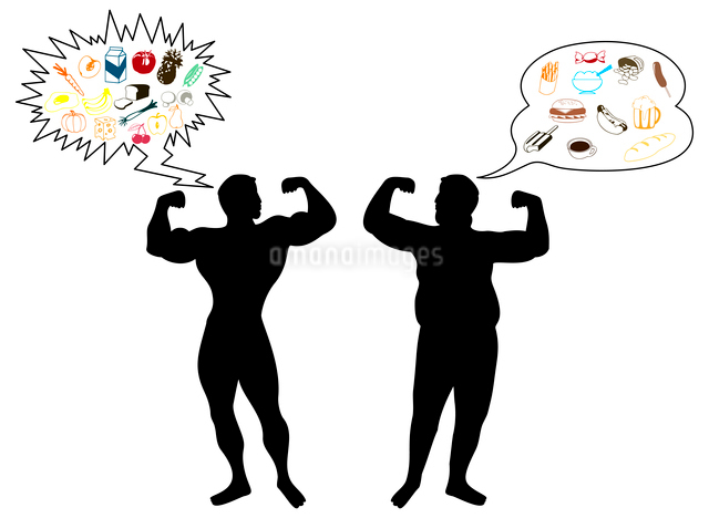 sportsman and fat man. Brawny and thick men. A vector illustrationのイラスト素材 [FYI03087436]