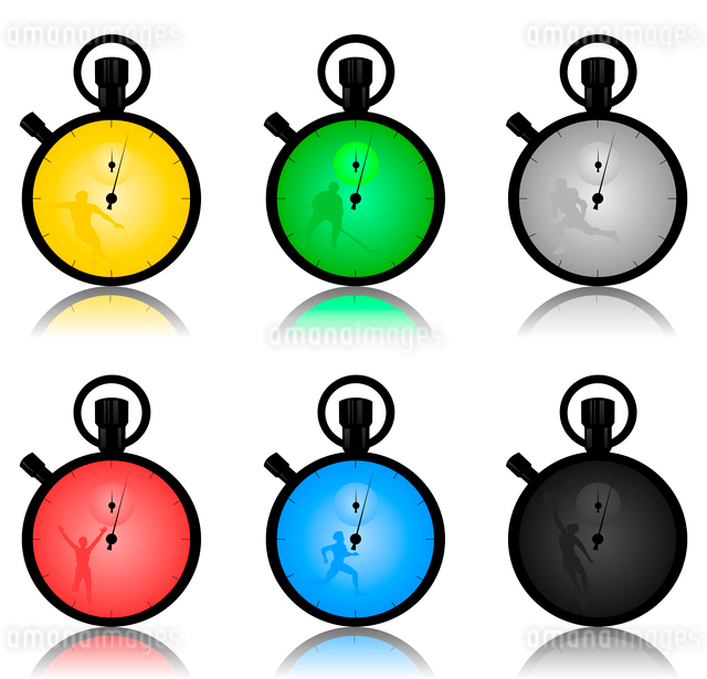Stop watch2. Set of sports stop watches. A vector illustrationのイラスト素材 [FYI03087469]