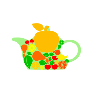 Teapot. Teapot made of fruit and berries. A vector illustrationのイラスト素材 [FYI03087503]