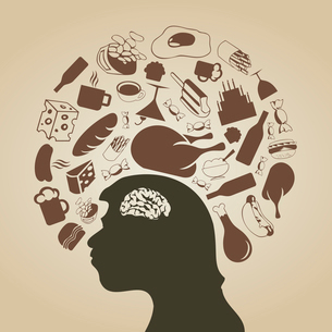 Food round a head of the man. A vector illustrationのイラスト素材 [FYI03087527]