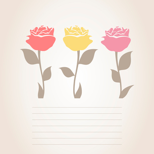 Three roses. Three roses on a card for the text. A vector illustrationのイラスト素材 [FYI03087531]
