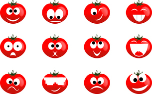 Tomato smile. Ridiculous expressions of the person of vegetables and fruitのイラスト素材 [FYI03087536]