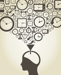 The person thinks of time. A vector illustrationのイラスト素材 [FYI03087542]