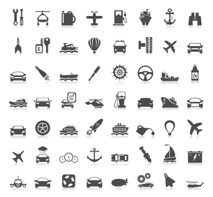 Collection transport of icons. A vector illustrationのイラスト素材 [FYI03087593]