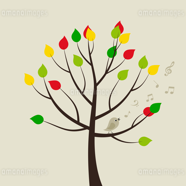 The bird sings on a tree. A vector illustrationのイラスト素材 [FYI03087594]