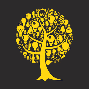 Tree with a crone from bulbs. A vector illustrationのイラスト素材 [FYI03087602]