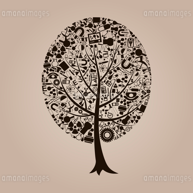 Tree on a theme a science. A vector illustrationのイラスト素材 [FYI03087606]