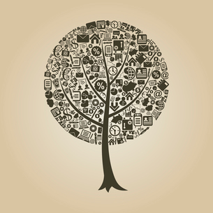Tree on a theme business. A vector illustrationのイラスト素材 [FYI03087616]