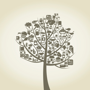 Tree with a crone from food. A vector illustrationのイラスト素材 [FYI03087618]
