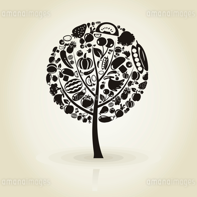 Tree with a crone from vegetables and fruit. A vector illustrationのイラスト素材 [FYI03087620]