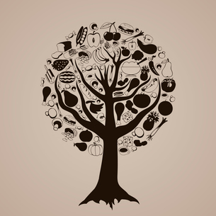 Brown tree from food. A vector illustrationのイラスト素材 [FYI03087625]