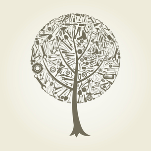 Tree made of tools. A vector illustrationのイラスト素材 [FYI03087641]