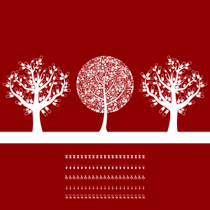 Three medical trees on a red background. A vector illustrationのイラスト素材 [FYI03087644]