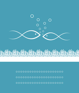 Two fishes. Two fishes on a blue background. A vector illustrationのイラスト素材 [FYI03087667]