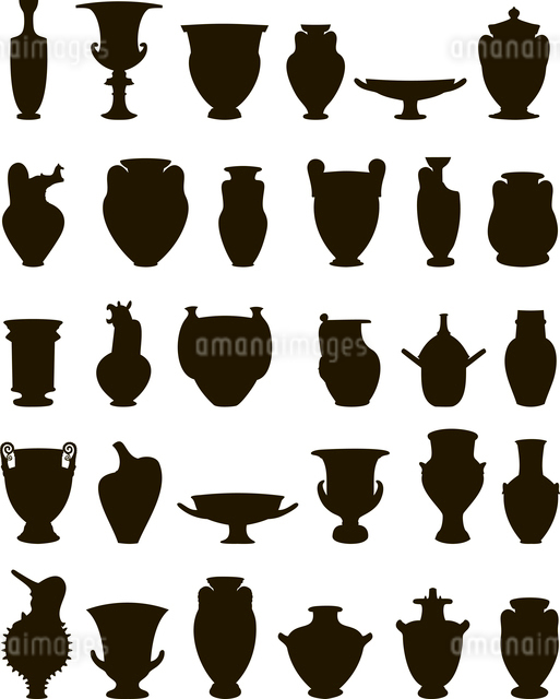 Vase. Set of silhouettes of vases. A vector illustrationのイラスト素材 [FYI03087686]