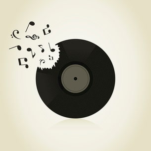 The note take off from Vinyl. A vector illustrationのイラスト素材 [FYI03087689]