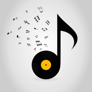 Vinyl in the form of the note. A vector illustrationのイラスト素材 [FYI03087690]