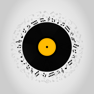 Vinyl record on a grey background. A vector illustrationのイラスト素材 [FYI03087692]