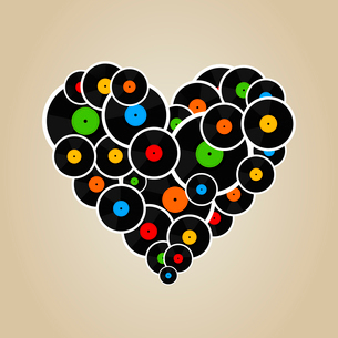 Heart made from Vinyl. A vector illustrationのイラスト素材 [FYI03087695]