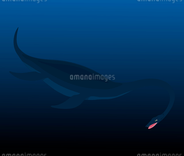 Water dinosaur. The water dinosaur floats in the sea. A vector illustrationのイラスト素材 [FYI03087702]