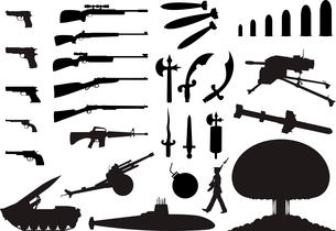 weapon. Silhouettes of the various weapon and engineering. A vector illustrationのイラスト素材 [FYI03087711]