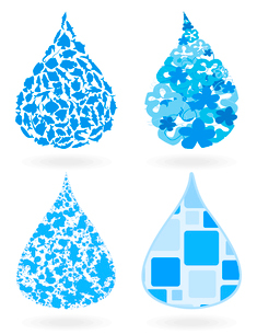 Water drop8. Blue drop of water on a white background. A vector illustrationのイラスト素材 [FYI03087713]