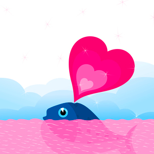 Whale love. The whale floats in the sea. A vector illustrationのイラスト素材 [FYI03087741]