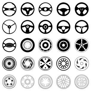 Wheel. Silhouettes of black colour of wheels and automobile disks. A vector illustrationのイラスト素材 [FYI03087756]