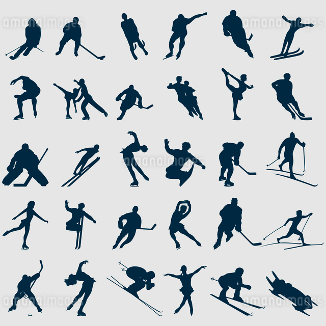Winter sports. Silhouettes of sportsmen of black colour. A vector illustrationのイラスト素材 [FYI03087767]