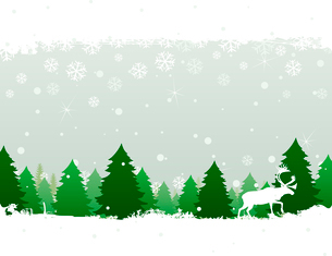 Winter wood. The deer goes on winter wood. A vector illustrationのイラスト素材 [FYI03087773]