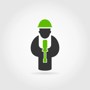 The working person with a screw-driver. A vector illustrationのイラスト素材 [FYI03087817]