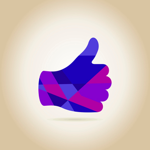 Violet hand on a grey background. A vector illustrationのイラスト素材 [FYI03087833]