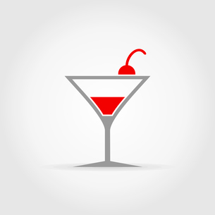 Cherry in alcoholic cocktail. A vector illustrationのイラスト素材 [FYI03087835]
