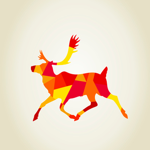 Red scrappy deer. A vector illustrationのイラスト素材 [FYI03087867]