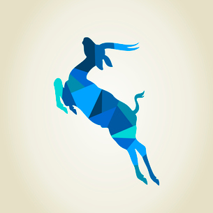 Blue deer. A vector illustrationのイラスト素材 [FYI03087868]