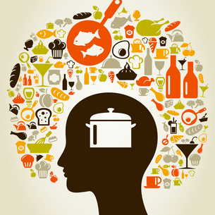 Head of the person made of food. A vector illustrationのイラスト素材 [FYI03087880]