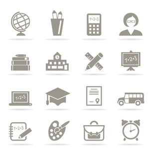 Set of icons on a theme school. A vector illustrationのイラスト素材 [FYI03087910]
