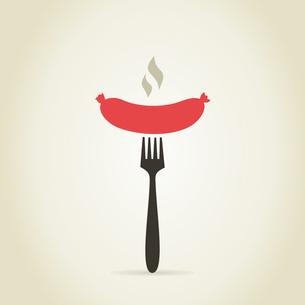 Sausage on a plug. A vector illustrationのイラスト素材 [FYI03087911]