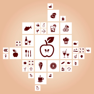 Food in squares. A vector illustrationのイラスト素材 [FYI03087966]