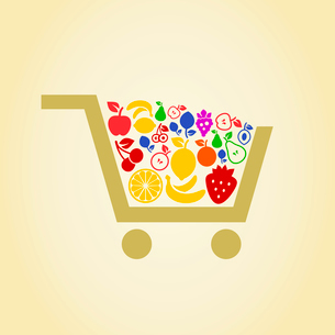 Cart filled with fruit. A vector illustrationのイラスト素材 [FYI03087967]